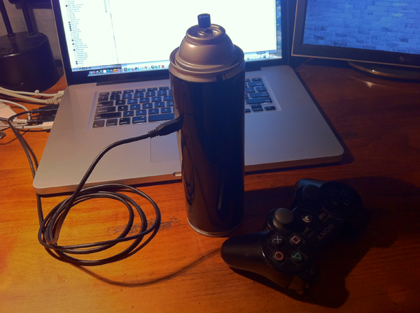 We considered creating a controller from scratch, but the Sony Playstation  controller was an easy choice for the spray can because its battery would  last, ...